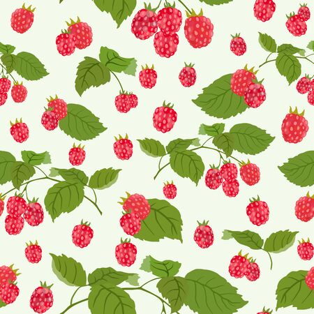 Seamless pattern with juicy raspberry. Vector illustration.