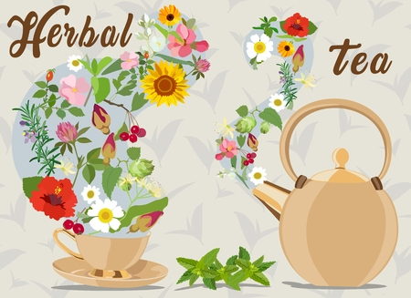 calendula: Picture with herbal supplements for tea and inscription. Vector illustration.