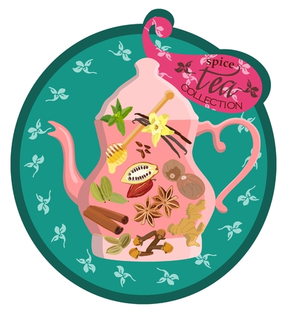 teaspoon: Colorful card with brew and spices for tea. Vector illustration.