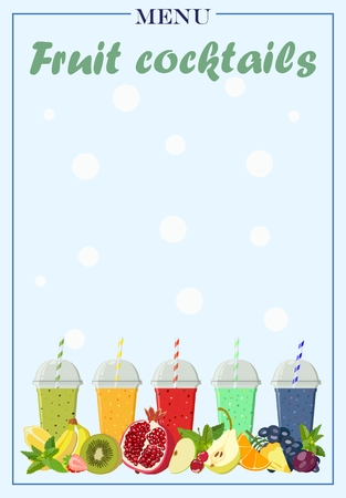 nonalcoholic: Vector image of a cover of a list of cocktails with bright fruits and drinks in glasses. Design menu of soft drinks.