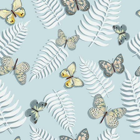 Seamless pattern with butterflies and fern leaves. Vector illustration.