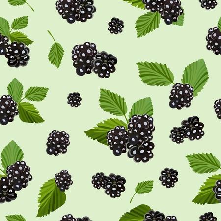 oregon: Seamless pattern with juicy blackberries. Vector illustration