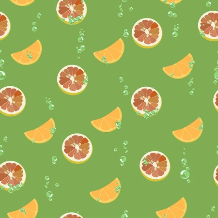 Pattern with grapefruit slices, orange with air bubbles. Vector illustration.