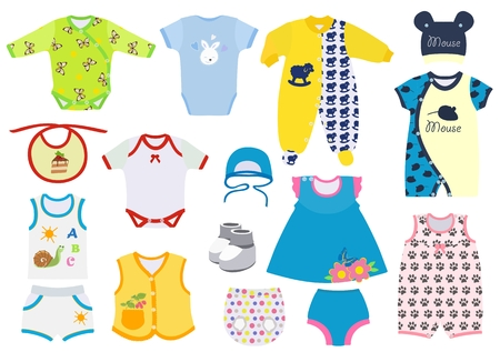 Set of clothes for newborns and small children. Vector illustration.