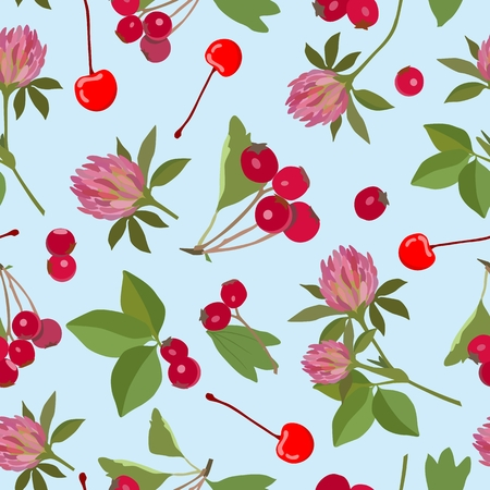 seamless clover: Vector pattern with clover flowers, hawthorn berries and cherries on a blue background. Illustration