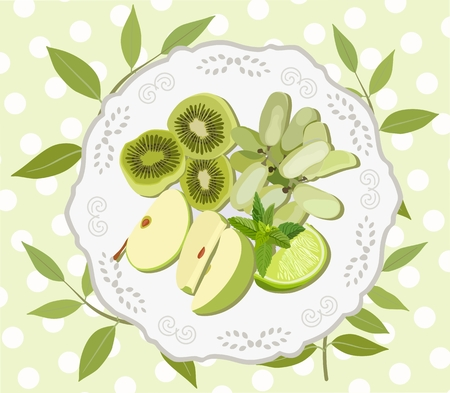 Vector image of sliced fruit green on a plate. Suitable for covers of culinary books, menus, decoupage.