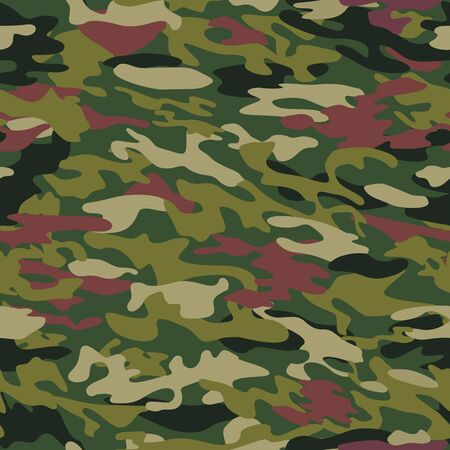 Vector pattern of camouflage with a coloring in the style of forest, jungle, tropic in green-brown colors. Element of design. Stok Fotoğraf - 82279122