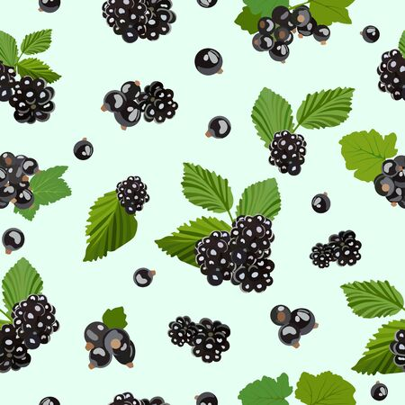Seamless pattern with blackberry and black currant berries. Vector illustration.