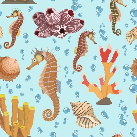 polyp: Vector multicolored pattern with the image of sea horses, corals and shells against the background of air bubbles
