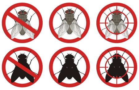 Warning stop sign with a color image of a fly and its black silhouette inside a red sign on a white background. Fighting insect pests.