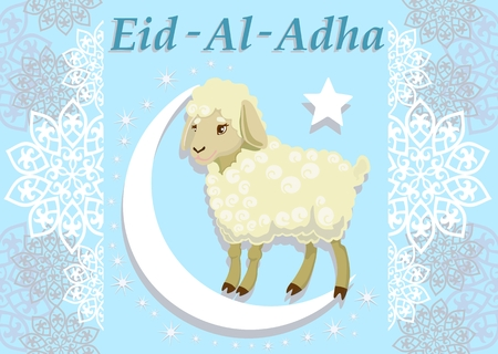 Card with lamb for muslim festival.