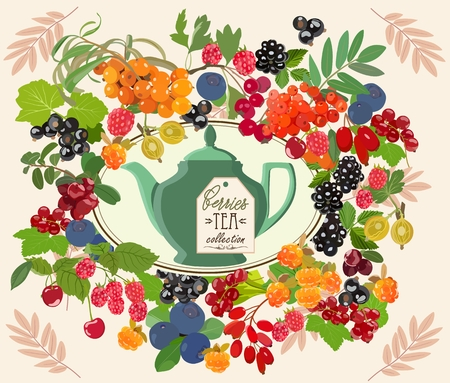 Decorative card with tea set and berries. Vector illustration.