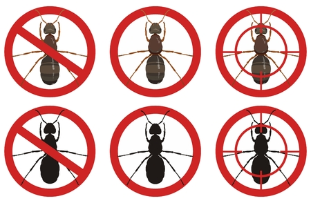 Stop ant signs. Set of insect pest control signs. vector illustration.