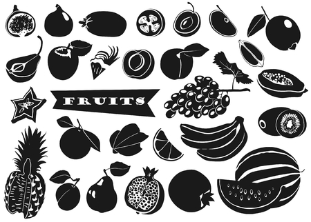 Collection of black and white silhouettes of fruits with leaves in flat style on white background. Watermelon, pomegranate, pear, apricot, pineapple, grapes, banana, apple, fig, papaya, lemon, kiwi carom orange