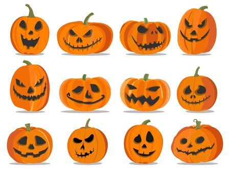 Set of pumpkins of different shapes and with different emotions on white background for Halloween holiday. Stock Illustratie