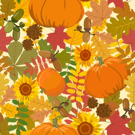 Seamless vector pattern on an autumn theme with colorful leaves and acorns, pine cones, sunflowers and pumpkins.