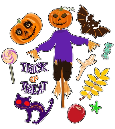 Set of stickers with figures for Halloween. Vector illustration Stock Photo