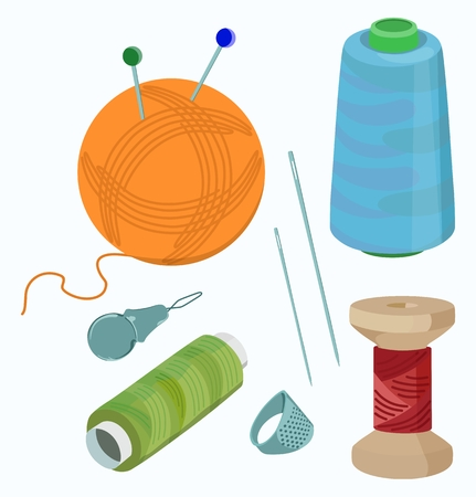 Set of thread reels and sewing accessories. Vector illustration.