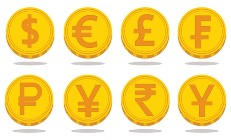 Collection of icons with currency symbols. Vector illustration Illustration