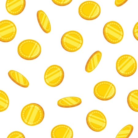 Seamless pattern with gold coins. Vector illustration.