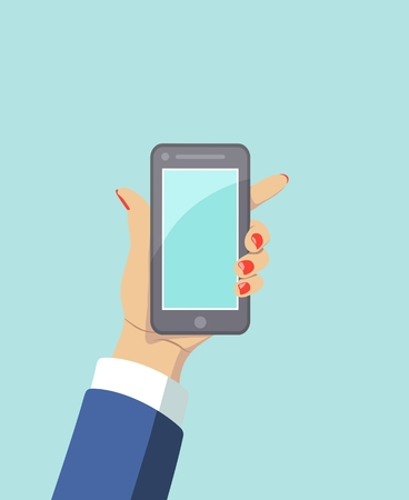 Vector icon of touch mobile phone in hand in flat style on blue background. Means of communication. Cartoon illustration for advertisement, web sites, banners, infographics design.