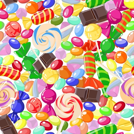 Seamless pattern of assorted sweet candies. Vector illustration