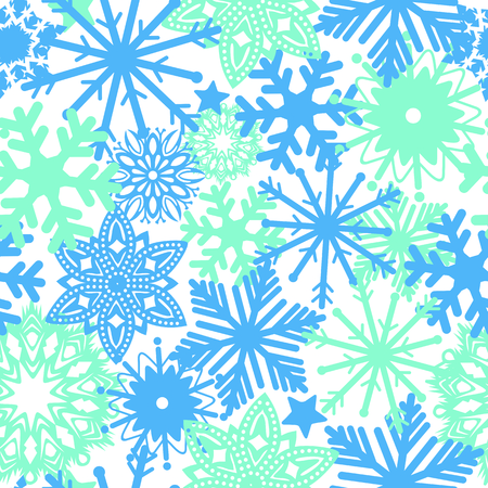 Vector pattern of blue snowflakes on a white background. Winter concept. Elegant background for wallpaper, gift paper, textiles, curtains.