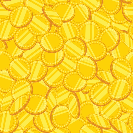 Seamless pattern of gold coins. Vector illustration.
