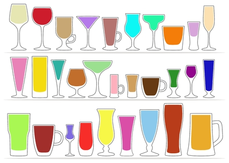 Vector set of glasses, different shapes with colored contents inside, isolated on white background. Tableware for drinks. Illustration