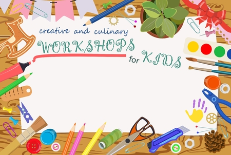 Advertising template: handmade and creative classes for children. Banners. Vector Illustration