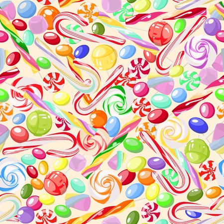 Vector pattern of bright, colorful, sweet candy, marshmallow, caramel, lollipops on light background. Sweets. For children's rooms, cafes, covers, wallpapers, textile products, wrapping paper. Stock Illustratie