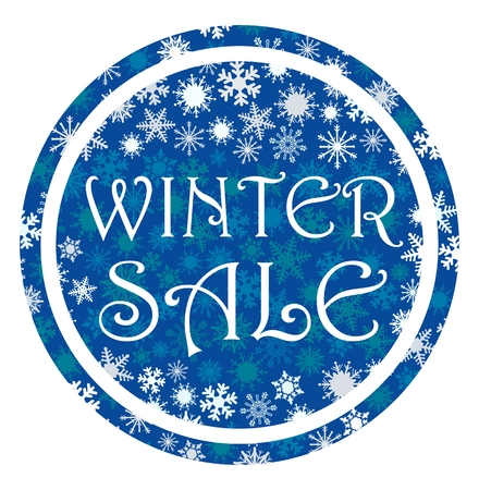 Vector poster of round shape with text Winter sale on background of snowflakes of blue and white. For seasonal retail promotion.