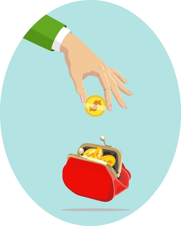 Vector image of gold coin in female hand over an unbuttoned red purse with coins. Money. Illustration