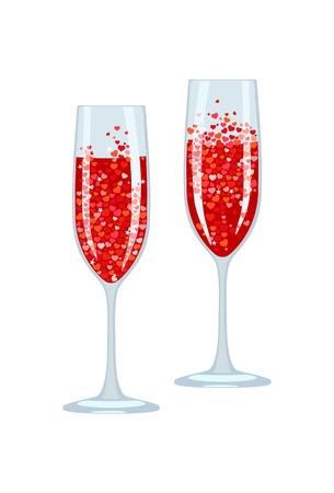 Vector Bild von feierlichen Gläsern mit rotem Getränk und Blasen in Form von Herzen. Gratulationstoast. Objekt isoliert auf weißem Hintergrund. Standard-Bild - 93272665