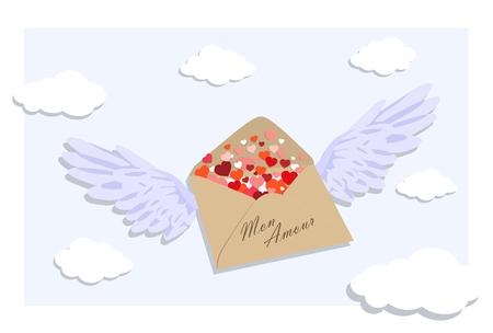 Umschlag mit Valentines in Form von Herzen . Vektor-Illustration Standard-Bild - 93392874