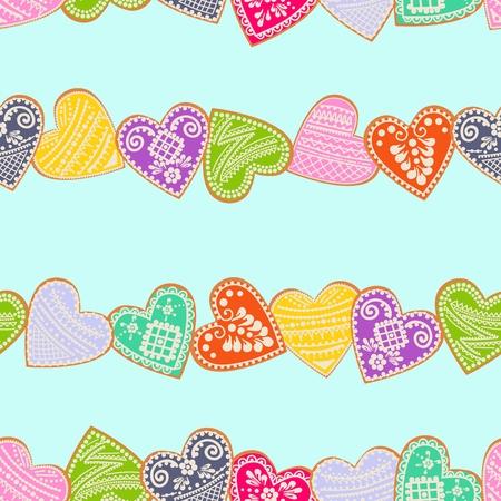 Original pattern of multi-colored gingerbread hearts. Vector Illusion Illustration