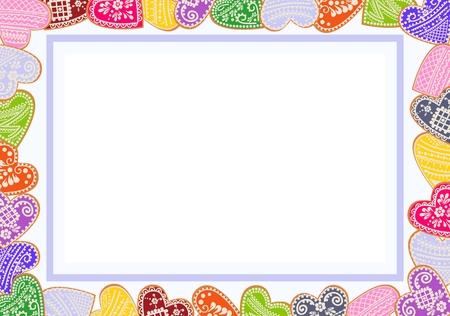 Valentinsgrußplakat mit Rahmen von verzierten Lebkuchenplätzchen in Form des Herzens mit Platz für Text. Geeignet für Liebhabereinträge, Einladungen, Glückwünsche, Umschläge dekorieren. Konzept des Schreibens zum Tag der Liebhaber. Standard-Bild - 93339534