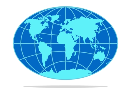 Vector background of world map with silhouettes of continents, parallels and meridians in blue color in form of globe. Flat object, isolated on white background.