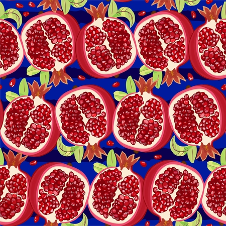 Vector seamless pattern with ripe halves of pomegranate on bright blue background with dark stripes. Иллюстрация