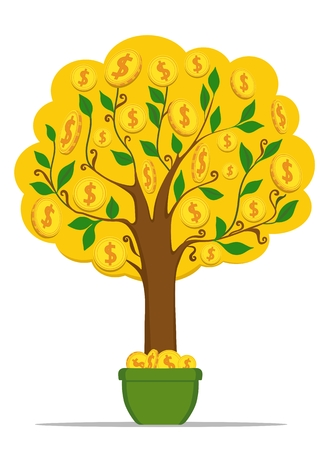 Money tree with gold coins dollars. Vector illustration.