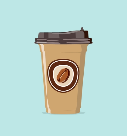 Realistic paper cup for take away coffee. Vector illustration