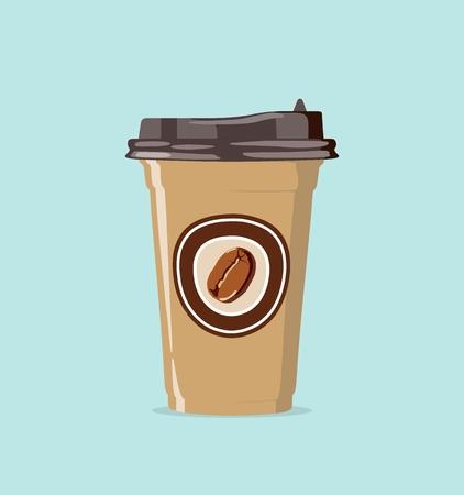 Realistische papieren beker om koffie mee te nemen. Vector illustratie