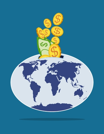 Vector picture with gold coins and paper banknotes with dollar sign, are put into world piggy bank on dark blue background in flat style. The concept of globe as piggy bank. Illustration