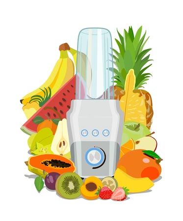 Vector color image of a kitchen fitness blender with fresh fruits on a white background. Concept of Health food and drink.