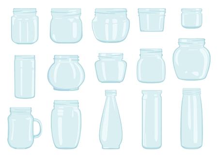 Vektorsatz Gläser aus Glas verschiedener Formen, lokalisiert auf weißem Hintergrund. Banken für Getränke, Babynahrung, Marmelade. Behälter zur Aufbewahrung von Süßigkeiten. Standard-Bild - 96265683