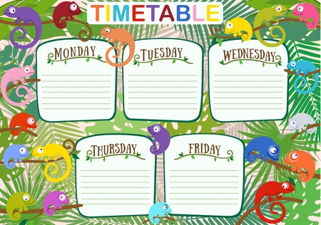 Vector colorful design of school work timetable with color chameleons against background of tropical leaves. Suitable and as planning for weekdays. Standard-Bild - 96263741
