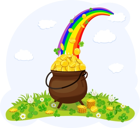 Cauldron, with gold coins under rainbow. Vector illustration. Standard-Bild - 96710802