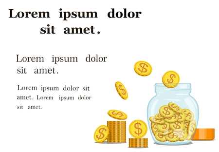 Vector image of gold coins in a glass, transparent jar with box for text or paper. Monetary accumulation. The concept of how to save money. Donations. Standard-Bild - 96662625