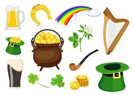 Set of symbols of St. Patricks Day holiday Vector illustration. Standard-Bild - 97043820