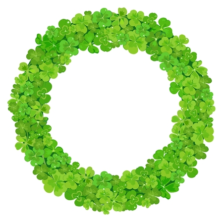 A Vector design festive wreath made from green three-leaved and four-leaved clover on white background.